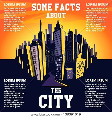 Cartoon city background. Vector illustration of cityscape.