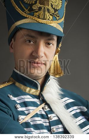 russian hussar on gray background
