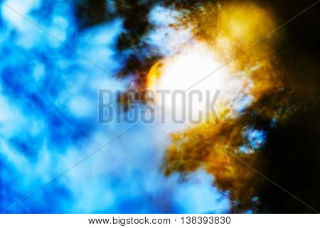 Horizontal vivid blinding burning sun light leak abstraction background backdrop