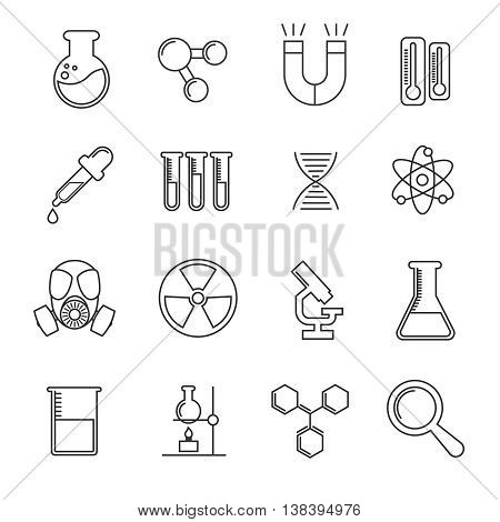 Chemistry vector thin line icons set. Science chemistry illustration and microscope with flask for study chemistry