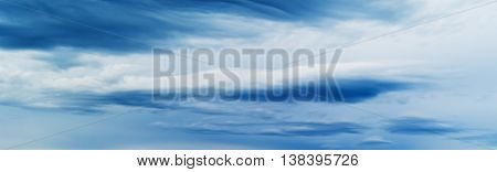 HORIZONTAL VIVID BLUE CLOUDSCAPE DRAMATIC CLOUDS BACKGROUND BACKDROP