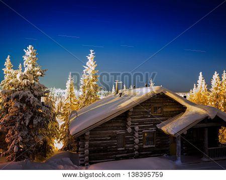 Horizontal Finnish Christmas New Year House Star Trails Backgrou