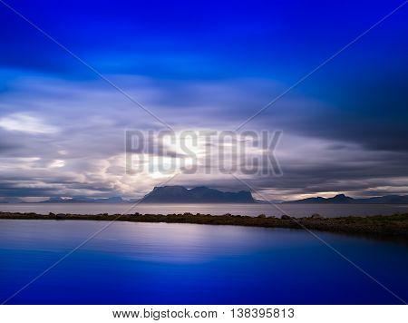 Horizontal Vivid Norway Dramatic Ocean Fjords Mountains Backgrou