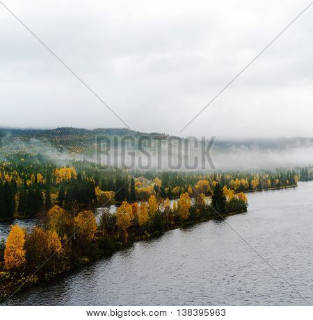 Square Dramatic Norway Fjord Woods In Fog Landscape Background B