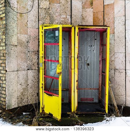 Square vivid vintage radioactive ussr pripyat call-box background backdrop