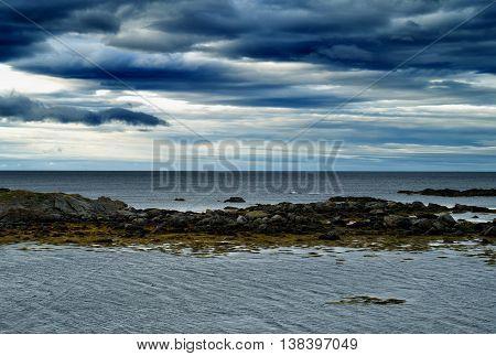 Horizontal Vivid Vibrant Dramatic Norway Beach Ocean Landscape B