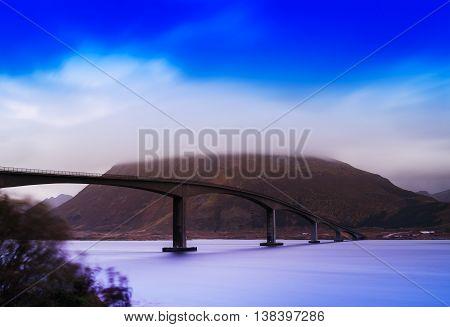 Horizontal Vivid Vibrant Norway Bridge River Flow Wind Landscape