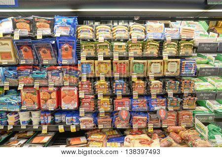 CHICAGO, IL - CIRCA APRIL, 2016: inside Jewel-Osco store. Jewel-Osco is a supermarket chain headquartered in Itasca, Illinois, a Chicago suburb.