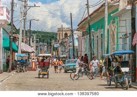 TRINIDAD, CUBA - SEPTEMBER 28, 2007: Streetlife scene in the historical center of Trinidad, Cuba