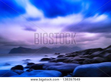 Horizontal Vivid Vibrant Norway Ocean Rocky Stony Beach Landscap