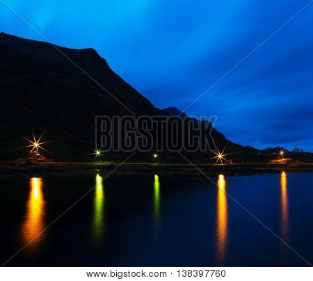 Horizontal Night Norway Road Water Reflections Background Backdr