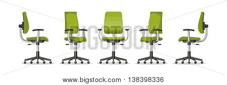 Illustration of an office chair in different perspectives