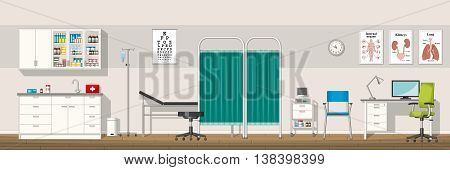 Illustration of a doctor office, vector panorama