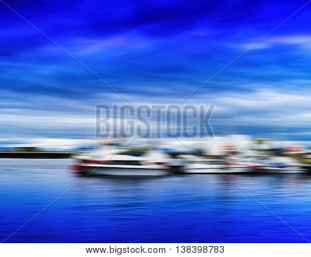 Horizontal Blue Vivid Norway Ships At Pier Motion Blur Abstracti