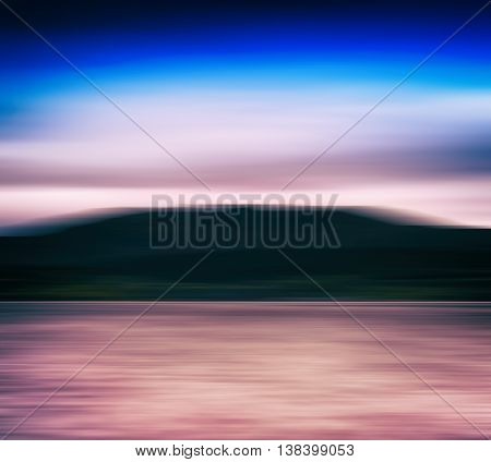 Horizontal Vivid Norway Fjord Blur Landscape Abstraction Backgro