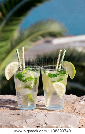 Two glasses with soda water lemon slices mint leaves and ice cubes on the background of palm branches and sea. Summer drink soda water cocktail. Vertical. Daylight. Close.