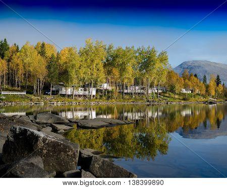 Horizontal Vivid Norway Camping Autumn Landscape Background