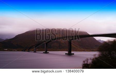 Horizontal Slim Norway Bridge Overcasted Landscape Background