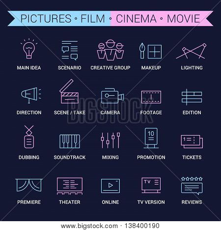 Icons of movie, film, cinema, pictures area. Linear, pink and blue.