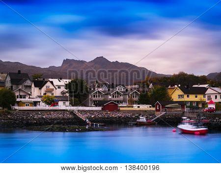 Horizontal Vibrant Vivid Norway Small Town Background Backdrop