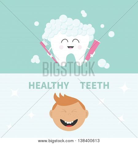 Tooth holding toothpaste and toothbrush. Bubbles foam. Smiling boy. Banner set. Cute cartoon character. Children teeth care icon. Oral dental hygiene Tooth health. Baby background Flat design Vector