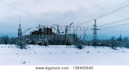 Horizontal vibrant Pripyat atomic reactor background backdrop