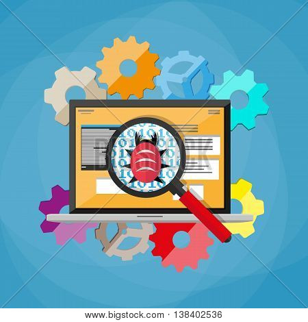 bug and virus in the programming code, notebook with developers applications, magnifying glass, gears. software testing quality control. vector illustration in flat style on blue background