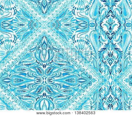 seamless placement ornamental pattern. beautiful elements and details, paisleys, swirls, border, and lace. Swimwear cover-up layout with a beautiful border. blue indigo colors.