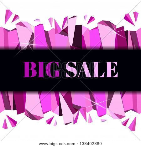 Glamour banner template for girl products big sale design. Pink abstract geometric triangles stripe on black background. Horizontal ruby diamond crystal border vector illustration - stock vector.