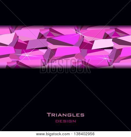 Pink abstract geometric triangles stripe on black background. Horizontal ruby diamond crystal border for girl party banner design. Vector illustration - stock vector.