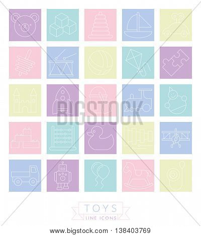 Set of 25 childrens toys icons, thin line design in pastel colored squares