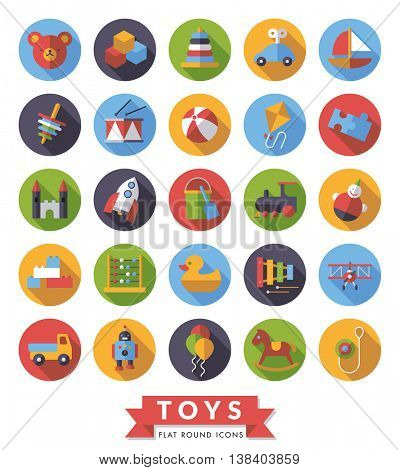 Collection of round flat design long shadow childrens toys icons