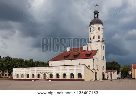 town hall in the town of Nesvizh, Belarus