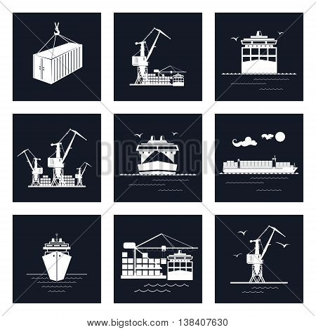 Set of Cargo Icons, Dry Cargo Ship and Container Ship Unloading Containers from a Cargo Ship in a Docks with Cargo Crane, Container, International Freight Transportation, Vector Illustration