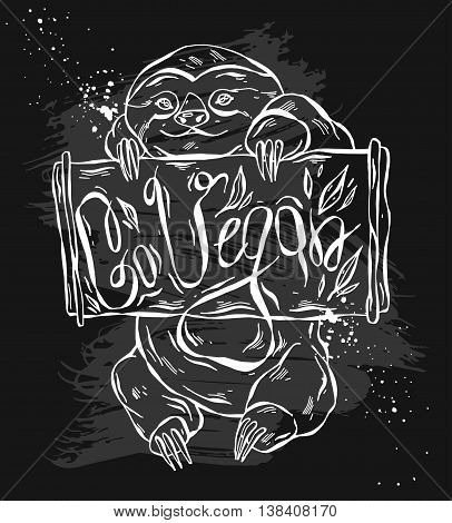 Hand drawn vector abstract cartoon illustration of happy sloth who holds wooden board in his hands with Go Vegan phase.Healthy motivation illustration for organic vegan marketstorefarm.Sign design.