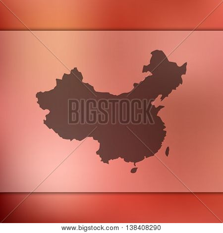 China map on blurred background. Blurred background with silhouette of China. China. China map.