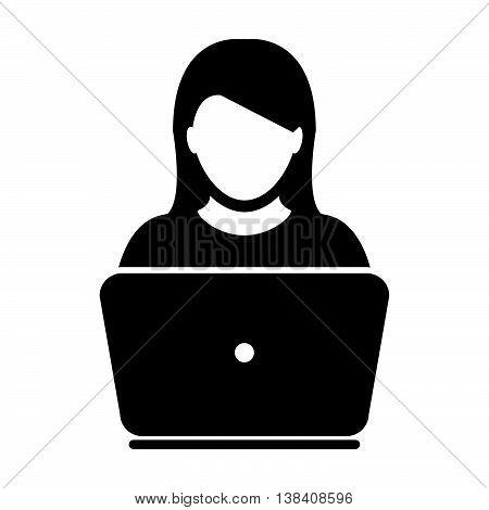 Woman User Icon - Laptop, Computer Engineer Vector illustration