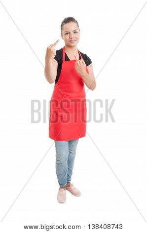 Rude Supermarket Woman Seller Showing Middle Fingers