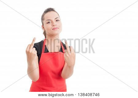 Rude Hypermarket Employee Doing Double Obscene Gesture