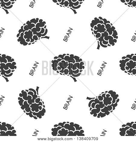 Seamless pattern with brain on white background. Vector illustration