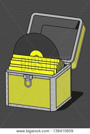 Vinyl storage case, vector illustration, equipment for musician