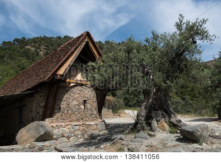 Holy Ancient orthodox Christian church of Aaint Agia Paraskevi at mountain village of Askas in Cyprus.