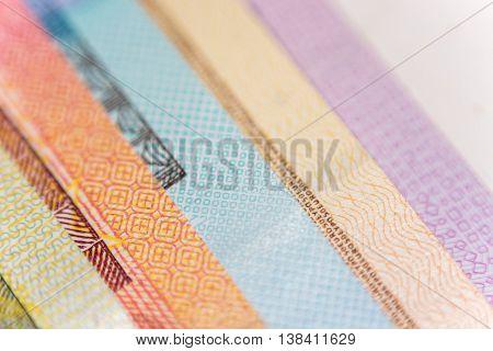 Veer of Euro banknotes compilation. Super close up. Macro.