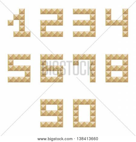 Golden studded 0-9 numbers set, collection isolated on white background.