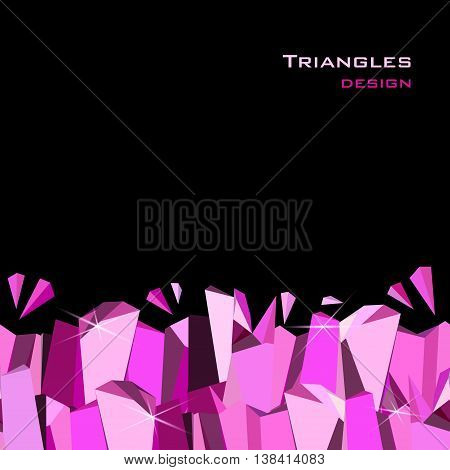 Abstract geometric pink frame on black background. Horizontal seamless bottom border with ruby diamond or purple crystal triangles. Design for girl party banner. Vector illustration - stock vector.