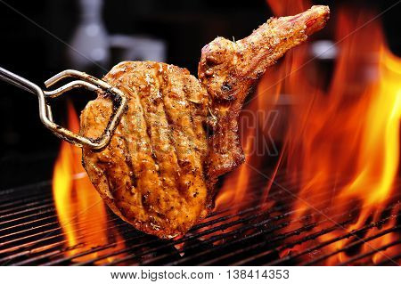 sirloin steak flame broiled on a barbecue
