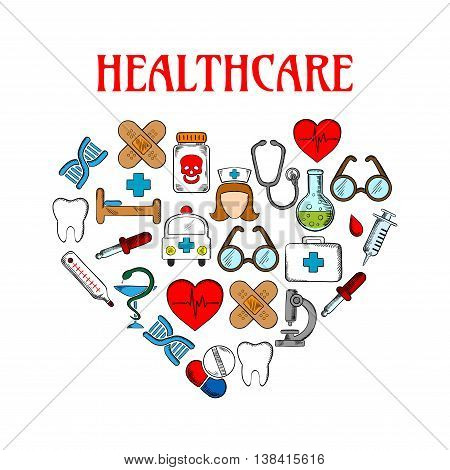 Medical and healthcare equipment icons in form of heart. Nurse or medic, sticking plaster or adhesive bandage, tooth and thermometer, pill or tablet as capsule, stethoscope and first aid kit, ambulance and dropper, snake around cup and DNA.