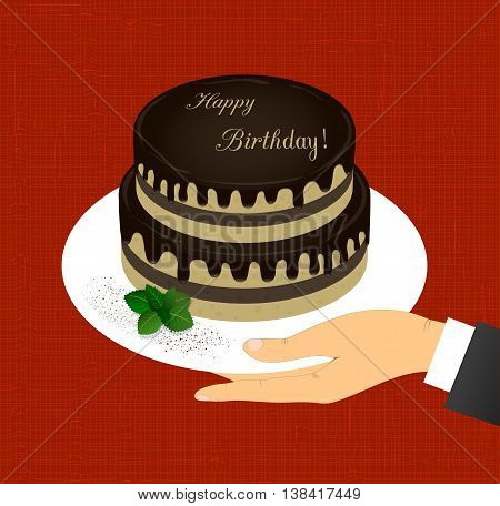 greeting card with the image of two-tiered chocolate cake with the words Happy Birthday in a hand