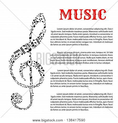 Music and sound infographic template with treble clef that is made of different musical notes in science or helmholtz notation on left side.
