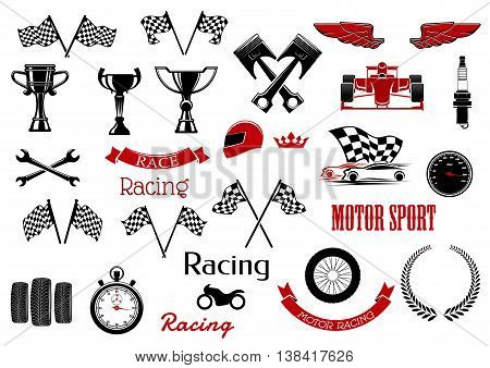 Design elements or set of isolated icons for motosport and racing. Checkered flags and winner cup or bowl,  formula one cars or F1 and wrench or spanner, , laurus leaves and motorbike, wheel and speedometer, driver and stopwatch, speedometer. poster
